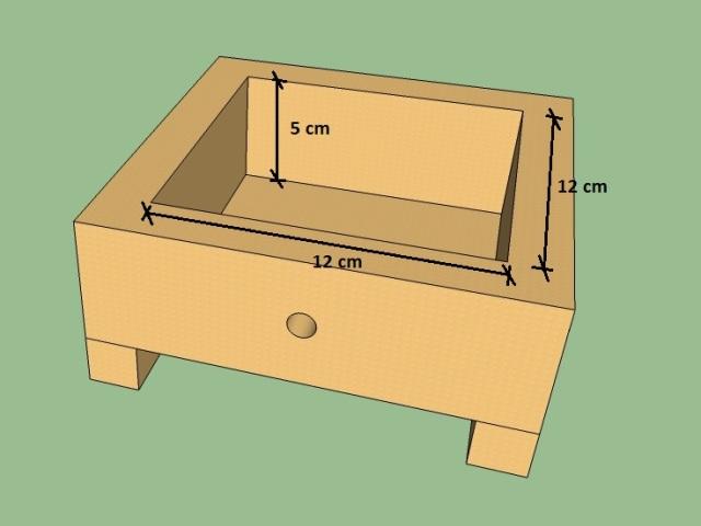 Ninho com as dimensões internas. A espessura da madeira pode ser de 2 cm.