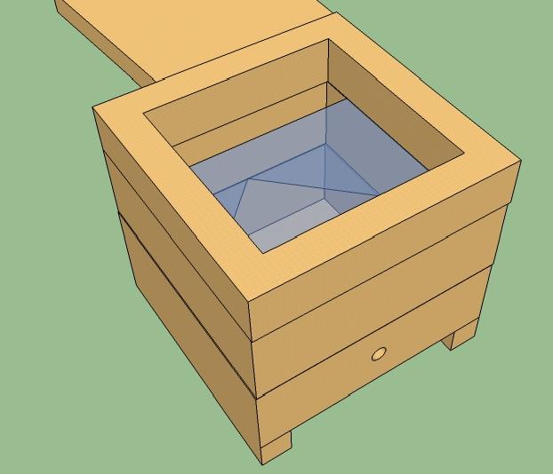 Vista interna da caixa. De baixo para cima, ninho, sobreninho, melgueira e tampa.